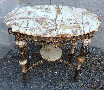 Rare Ornate Brass And Onyx Table