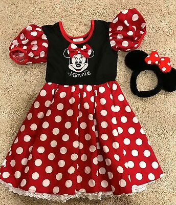 Walt Disney World Kids Minnie Mouse Costume with Ears sz med. 6x - 8