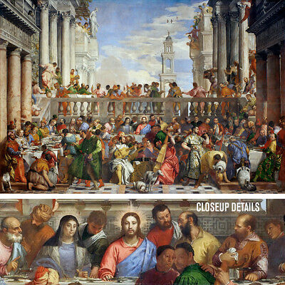 """40W""""x27H"""" WEDDING AT CANA by PAOLO VERONE - JESUS LAST SUPPER CHOICES of CANVAS"""