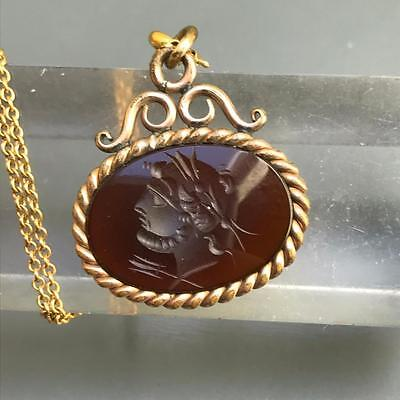 Antique Victorian Carved Carnelian Intaglio Cameo Gold Fill Fob Charm Necklace