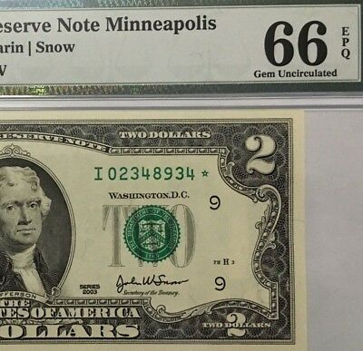 2003 $2 Minneapolis * Star * 🌟 Frn, Pmg Gem Uncirculated 66 Epq Banknote