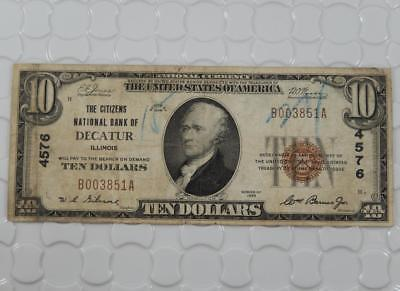 Series 1929 $10 Dollar National Bank Note 4576 Citizens Nat. Decatur IL P0038