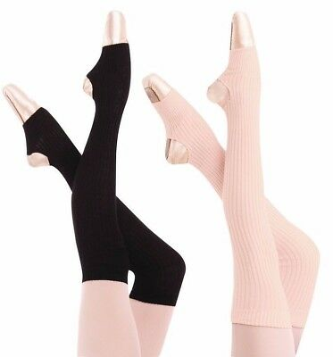 "New 36"" Stirrup Leg Warmers Black & Theatrical Pink 94 Body Wrappers"