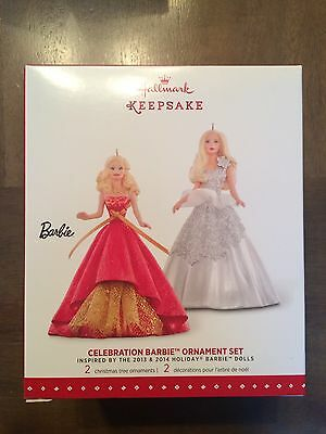 2015 Hallmark Keepsake Celebration Barbie Ornament Set 2 Barbie's Nib (4)$