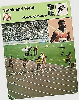 1977 Hasely Crawford Sportscaster Card #04-21 First Printing Mint From Cello