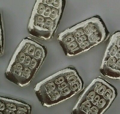 10 Grams of .999 Solid Silver Bullion Bar. weight 10 grams in one bar
