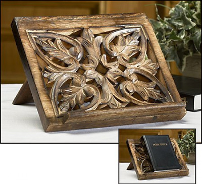 NEW Ornate Wood Carved Bible Missal Stand Collapsable Hardwood FREE SHIPPING