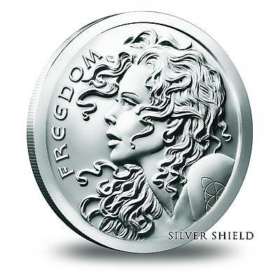2013 SBSS Freedom Girl COA #3747 Proof 1 Troy Oz .999 Fine Silver Shield Round