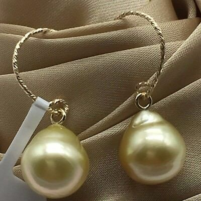 natural baroque golden south sea pearl 14K bonded yellow gold hook drop earrings
