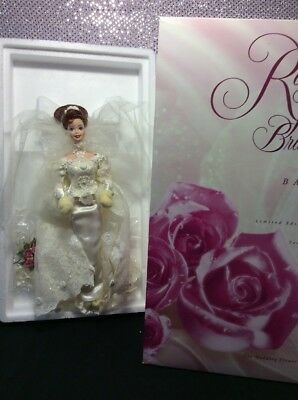 Romantic Rose Bride Porcelain Barbie Doll 1995 Limited Edition Mattel 14541 Mint