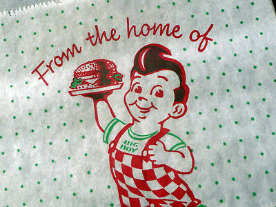 ~ RARE & vintage Bobs BIG BOY wax HAMBURGER sandwich BAG ~ lot of 6 UNUSED NOS
