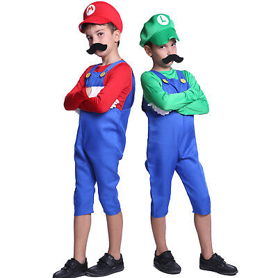 Boys Super Mario Luigi Bros Cosplay Costume Plumber Workman Uniform Outfit 5-12Y