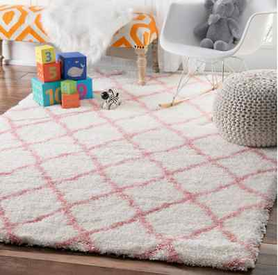 Nursery Rugs For Girls Baby Pink Cloudy Shag Soft Plush Trellis Bedroom 4'x6'