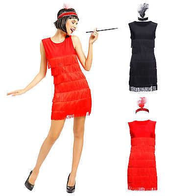 Ladies Sexy Red Black 1920s Fringed Flapper Girl Charleston Fancy Dress Costume