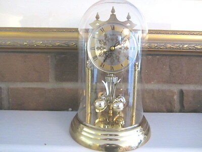 Vintage Heirloom Quartz 85 Mantel Anniversary Clock Glass dome- Works beautiful!