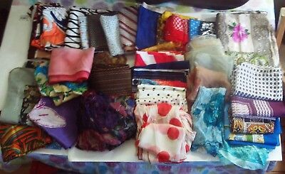 Large Lot of 40 Vintage Scarfs mixed Brands, Styles, Colors, and Fabrics