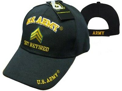 8d7e765bbf055 U.S. Army SGT Retired Embroidered 3D Black Ball Cap Hat(Licensed) CAP560A  (TOPW