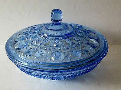 Vintage Federal Glass Windsor Button Cane Pattern Aegean Blue Covered Dish/bowl