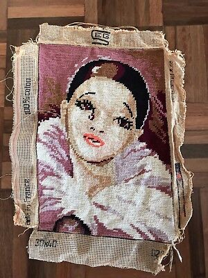 Vintage french finished SEG tapestry clown harlequin Pagliacci deco lady