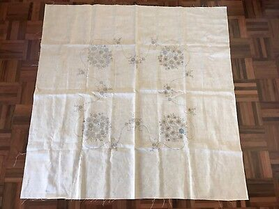 Vintage 112 x 112cm stamped cream linen embroidery tablecloth floral started