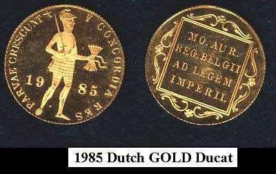 Netherlands 1985 Gold Ducat--Flawless Gem Proof Bu Encased--Renown Bullion Coin