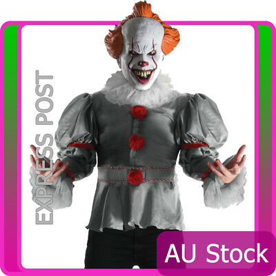 Mens Licensed Pennywise Evil Clown Circus Stephen King IT Costume Halloween Mask