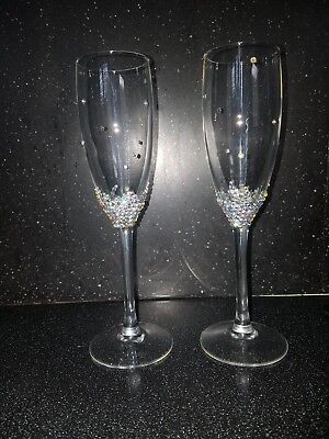Personalised Sparkly Champagne Flute Glass Wedding Favour Gift