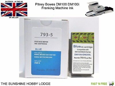Pitney Bowes Blue Compatible Franking Machine Ink Cartridge For DM100i PB 35ml