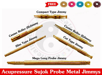 Sujok Acupressure Probe Brass Metal Diagnostic Roller Jimmys +Free 5 Sujok Rings