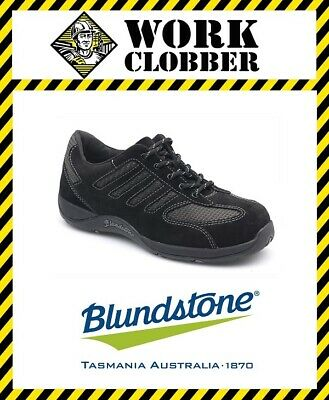 Blundstone Womans Black Suede Leather Lace Up Steel Cap Shoe 742 NEW IN BOX!