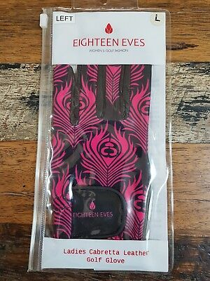 Women's Ladies Leather Golf Glove Left Hand SIZE LARGE - Eighteen Eves - Pink/Bl