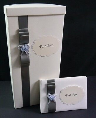 Tall post box and guest box set in silver, wedding