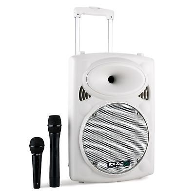 "Portable Pa 10"" 250W Rms Active Speaker + Microphones Bluetooth Usb"