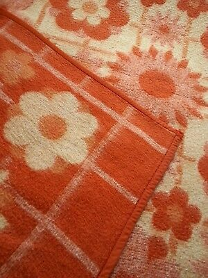 Vintage retro french funky floral orange 2 toned reversible double blanket