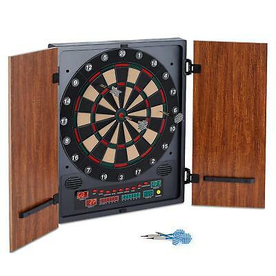 Foldable Electric Dartboard Wood Case Fun Play Home Kids Games 27 Gaming Easy
