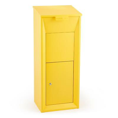 Postbox Parcel Mailing Box Floor Stand Door Buffer Lockable Yellow Shop Home