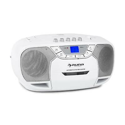Auna Beeberry Boom Box Radio Cd Mp3 Player Tape Cd Aux Battery White Travel