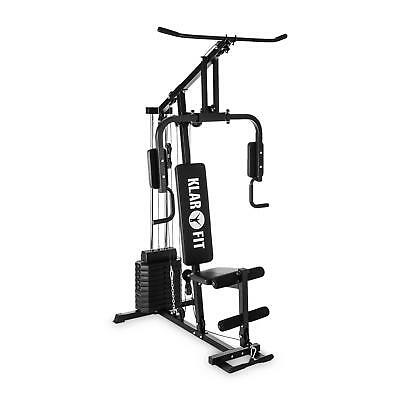 Multi Gym Station Cable Training 100Lb 45Kg Steel Push Ups Fitness Home Black