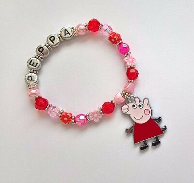 Peppa Pig Inspired Personalized Charm Bracelet