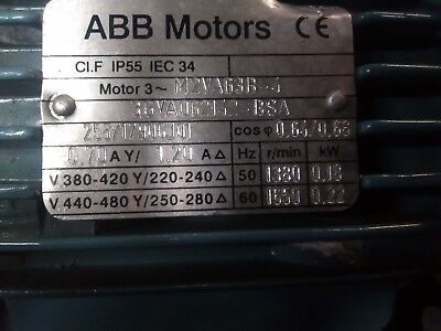 New old stock ABB 0.18kW motor 3 Phase