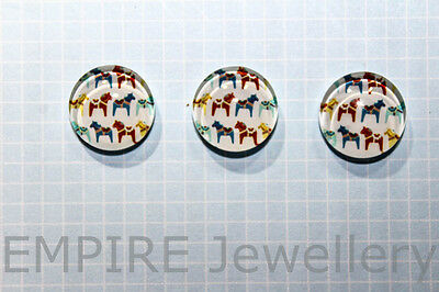 2 x Mini Dala Horse Pattern 12x12mm Glass Cabochons Cameo Dome Sweden Pony