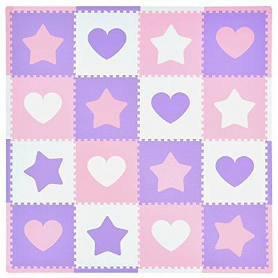 Tadpoles 16 Sq Ft Hearts and Stars Playmat Set Pink/Purple/White
