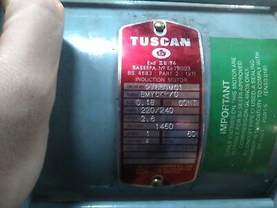 New old stock Tuscan 0.18kW motor 1 Phase