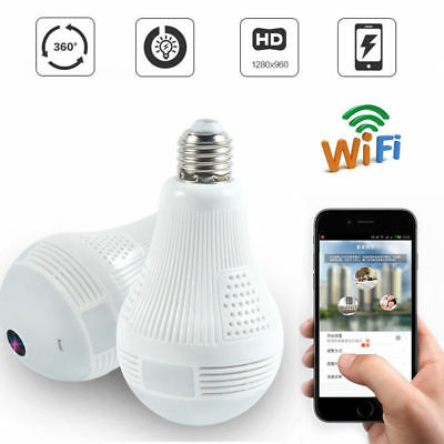 1.3MP 360°Views WIFI fisheye  Panoramic Wireless Camera LED IP Light Bulb Camera