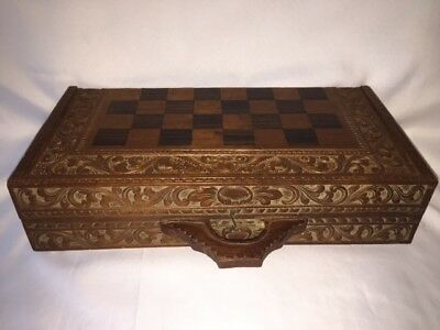 Vintage Wooden Hand Carved 32 Piece Chess Set