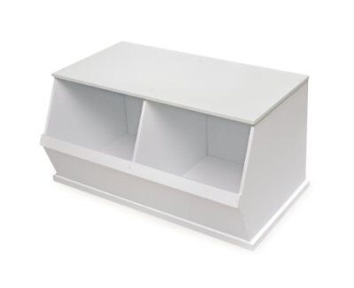 Badger Basket Company Two Bin Storage Cubby White