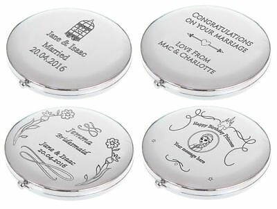 Engraved Compact Mirrors Personalised Gift Several Designs  *UK SELLER*