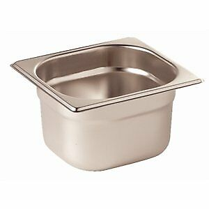 Vogue Stainless Steel 1/6 Gastronorm Pan 65mm Deep Food Container Storage