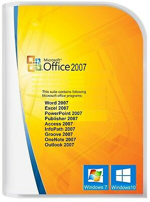 upMicrosoft Office 2007 for Windows 7 & 10 Word/Excel/Outlook/Power P/ 3 PC user