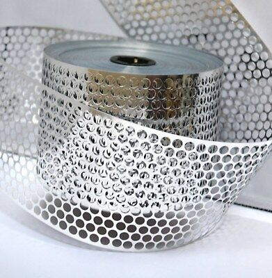 Sequin Waste (Punchinella) - 1 METRE of SILVER  CIRCLES design - 83mm width